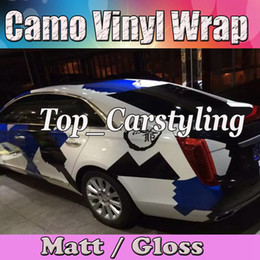 $enCountryForm.capitalKeyWord NZ - Blue White black Pixel Camouflage wrap Film Camo Wrapping Vinyl Foil With Bubble Free Truck Body foil Sticker with air free 1.52x30m Roll