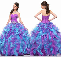 Barato Multi Camadas Vestidos De Festa-Colorfull Sweet Prom Dresses Party com Sequins com contas Bead Sweetheart Ball Gown Organza em camadas Long Purple and Blue Vestidos de baile formal