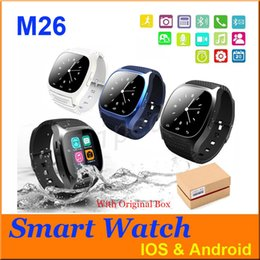 Dial Box Canada - M26 Bluetooth Smart Watch luxury wristwatch R watch smartwatch with Dial SMS Remind Pedometer for Android Samsung phone Retail box 5pcs