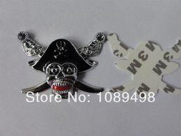 Motor Car Emblems Canada - Free Shipping Skull Style Bike Car Auto Motors Motorcycle Tire skull emblem badges 1pcs Cheap badge crown