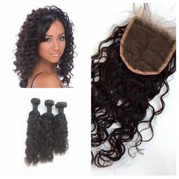 hair bundles closures sale 2019 - Woo! Hot Sale Lace Closure with bundles natural brazilian water wave and closure 4pcs lot G-EASY hair products cheap hai