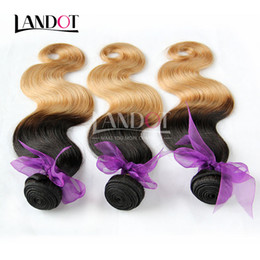 Wavy blonde hair online shopping - Ombre Indian Body Wave Virgin Human Hair Extensions Two Tone B Honey Blonde Ombre Indian Body Wavy Remy Human Hair Weaves Bundles