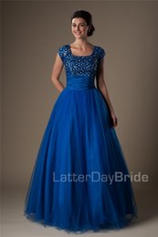 Modest Prom Dress Cheap Canada - Royal Blue Ball Gown Modest Prom Dresses With Cap Sleeves Short Sleeves Prom Gowns 2016 Puffy Puffy High School Formal Party Gowns Cheap