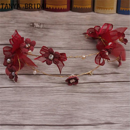 12 Pcs Lot Burgundy Headpieces 2018 Bride handmade flowers pearl butterfly double hair hoop headdress wedding Event hair accessories XQ5 on Sale