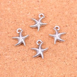 $enCountryForm.capitalKeyWord Australia - 148pcs Antique Silver Plated starfish Charms Pendants for European Bracelet Jewelry Making DIY Handmade 16*14mm