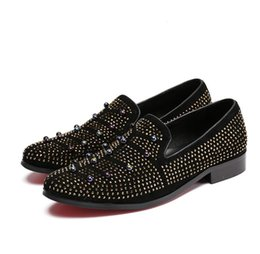 mens flat heel leather slip shoes UK - 2017 New style Dandelion Spikes Flat Leather Shoes Rhinestone Fashion Mens Loafers Dress Shoes Slip On Casual Diamond Pointed Toe Shoes M402
