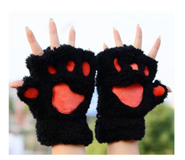 bear mittens gloves Canada - Newest! Fluffy Bear Cat Plush Paw Claw Glove Novelty Halloween soft toweling lady's half covered gloves mittens free shipping 50pairs lot