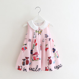 Barato Vestido Crianças Crianças Rosa-Nova chegada Cute Kids Girls Cartoon Print Sundress Ruffles Princess Pink Party Dress Cute Baby Children Dress