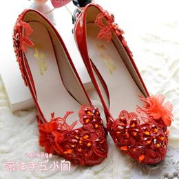 $enCountryForm.capitalKeyWord NZ - Red Lace Appliques Wedding Shoes Low Heel Rhinestones Small Flower Patent Leather Handmade Custom-made Heel Height Slip-on Bridal Shoes