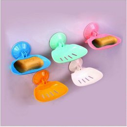 Wholesale Candy Colors Thicken Bathroom Kitchen Vacuum Sucker Suction Soap Box Cup Folding Hanging Soap Holder Dishes