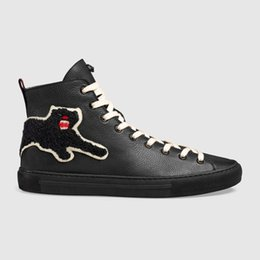 tiger sneakers Australia - Designer Men Women High Top Casual Shoes Luxury Black Leather With Tiger Panther Bee Embroidery Sneakers Fashion 8 Style Street Boots