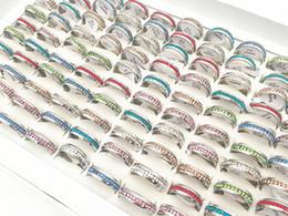 Опт Горячие 20шт/УП ассорти 6 мм однорядные полный Кристалл ювелирные изделия из нержавеющей стали кольцо для мужские женские свадебные обручальные кольца