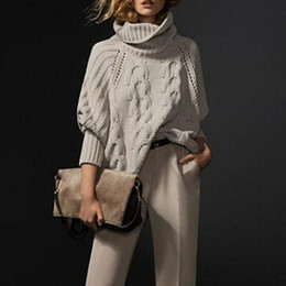 Barato Malha De Costura Por Atacado-Venda por atacado - 2014 Mulheres Vintage High neck Roll Retro Cabo Twist Knit Ribbed Painel Irregular Hem Loose Fit Jumper Sweater