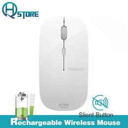 Ultra Slim Laptops Canada - Wholesale- AZZOR Rechargeable Wireless Mouse T5 Slient Button Ultra thin Mute Optical Mouse Slim with Charging Cable for Computer Laptop