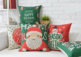 Free Shipping Christmas Gift Santa Claus Snowflakes Happy Holidays Words Pattern Cushion Cover Home Car Bar Decorative Throw Pillow Case
