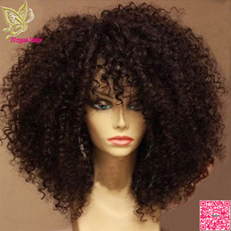 Black Bangs wig human hair online shopping - Afro Kinky Curly Lace Front Human Hair Wigs With Bangs Brazilian Full Lace Human Hair Wig Curly For Black Women Grade A