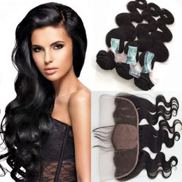 russian hair lace closure Canada - Peruvian Silk Base Lace Frontal Closure With Bundles Body Wave Virgin Human Hair Weave With 13X4'' Silk Top Lace Frontal