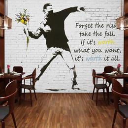 Discount vinyl backdrops bricks - Graffiti Artist Banksy Wall Murals Custom 3D Photo Wallpaper Bricks Wallpaper for walls 3D Bedroom Office Sofa TV backdr
