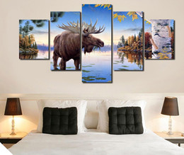 $enCountryForm.capitalKeyWord Canada - 5 Piece HD Printed animal Elk Painting Canvas Print room decor print poster picture canvas oil paintings