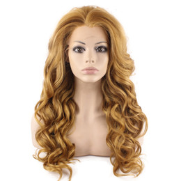 $enCountryForm.capitalKeyWord UK - Long Wavy Blonde Mix Brown Lace Front Synthetic Hair Wig Natural