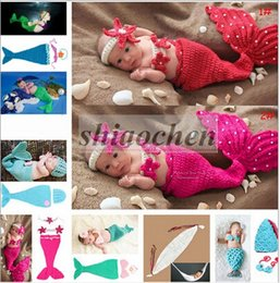 Tenue De Sirène Tricotée Bébé Pas Cher-Baby Shower Crochet Mermaid Swaddles Knit Costume Wraps Newborn Blankets Baby Photography Props Diamond Headband 3PCS / set Outfit A1161 10