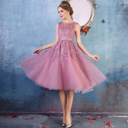 Misses knee length dresses online shopping - 2019 In Stock Cheap Sweet Homecoming Dresses Sheer Crew Neck Lace Appliques Beaded A line See Through Tea Length Cocktail Dresses CPS298