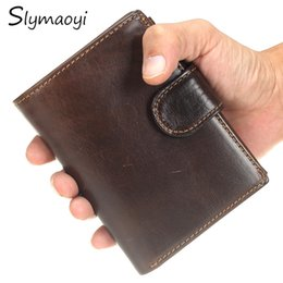 $enCountryForm.capitalKeyWord Canada - Wholesale- Slymaoyi Brand Men Wallets Vintage Genuine Oil Wax Leather Cowhide Short Bifold Wallet Purse Card Holder With Coin Pocket