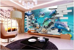 $enCountryForm.capitalKeyWord Canada - 3d wallpaper custom photo non-woven mural Sea world dolphin background 3d wall murals wallpaper for living room decoration painting