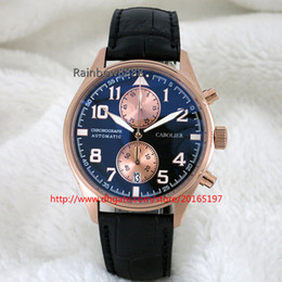 Round Clock Movement Canada - free shipping Fashion watches quartz chronograph movement mens clock luminous wristwatches leather strap rose gold case W007