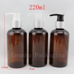 $enCountryForm.capitalKeyWord Canada - 220ml x 20 empty brown cosmetic bottles with pump , shampoo lotion pump bottle , amber PET container with silver dispenser