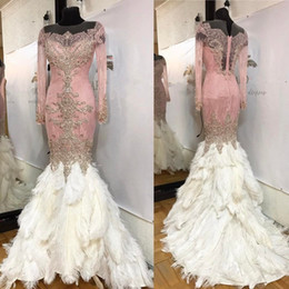 Luxury Evening Dress Feather Canada - Luxury Feather Mermaid Dresses Evening Wear Long Sleeve Beaded Sheer Neckline Vintage Prom Gowns Crystal Saudi Arabia Red Carpet Dress