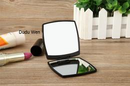 Maquillaje de lujo faceta C estilo plegable doble espejo lateral con caja de regalo negro espejo de maquillaje portátil