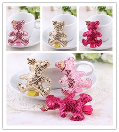 $enCountryForm.capitalKeyWord Canada - Wholesale 30pcs lot 3Colors Solid Cute Sequin Bear with Glitter Crown Baby Girls Hairpins Fashion Girls Hairclips