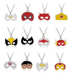 $enCountryForm.capitalKeyWord UK - Christmas Mask Shape Necklaces Halloween Gift Party Pendant Charm Necklace Batman Captain Superman Jewelry Accessories Wholesale 24 Styles
