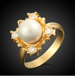 $enCountryForm.capitalKeyWord Canada - Europe 18K Real Gold Electroplated Rings Women Venetian Pearl Wedding Jewelry Cubic Zirconia Ring New Arrival
