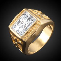 Discount gold animal rings for men - 18K Real Gold Vacuum Plated Cubic Zirconia Rings Big CZ Diamond Wedding Rings For Women and Men
