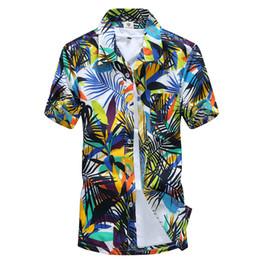 Mens Blue Hawaiian Shirt Canada - Wholesale-Summer Dress Hawaiian Shirt Men's Hawaii Beach Shirt Short Sleeve Floral Loose Casual Mens Shirts Fashion 2016 Plus Size L-4XL