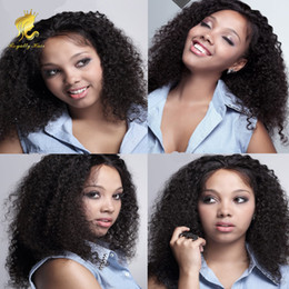 African Kinky Wigs Canada - 150% Density Human Hair Lace Front Wig with Bleached Knots For African Americans Kinky Curly Glueless Full Lace Wig