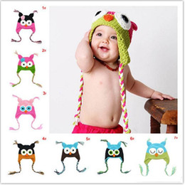 Wholesale Winter Baby owl Knitted Hat Infant cartoon Caps toddler Outdoor warmth hats fit T top quality