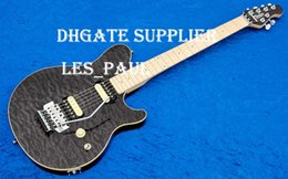guitar black tremolo Canada - Top Selling Edward Van Halen Wolf Music Man Ernie Ball Axis Black Flame Maple Top Electric Guitar Scalloped Fingerboard Tremolo Bridge