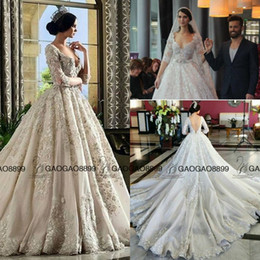 China Rami Salamoun 2019 Cathedral Train Muslim Arabic Dubai Long Sleeve Wedding Dresses Luxury Lace Beaded Church Plus Size Wedding Gown cheap champagne pearls suppliers