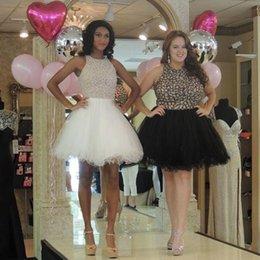 Barato Mini Tutu Vestidos De Baile-2016 New Little Black Homecoming Vestidos Jewel Beading Tutu Skirt Modest Short Plus Size White Prom Party Cocktail Gowns Cheap Custom