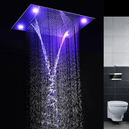 Best LED Shower Heads Faucet Sets 4 Function Concealed Ceiling Rainfall  Waterfall Misting LED Shower Heads Faucet Sets 160305# Rainfall Shower Head  Faucet ...