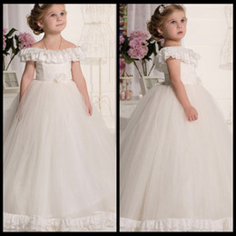 17c6095c4a76 Ball Gown Off Shoulder Short Sleeve Appliques First Communion Dresses For  Girls vestidos de primera comunion Flower Girl Dresses