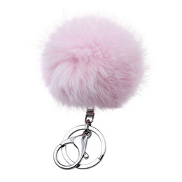 Chinese  Retal Soft Real Rabbit Fur Ball Metal Key Chains Ball Pom Poms Plush Keychain Car Bag Pendant Key rings manufacturers