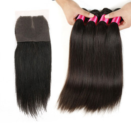 Discount closure 14 inch straight - Malaysian Hair Straight With Closure 3Pcs Hair Bundles With Closures Free Or Middle Part 7A Unprocessed Brazilian Straig
