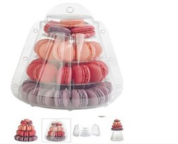 $enCountryForm.capitalKeyWord NZ - 4 Tier PVC Macaron Stand with carry-out box wedding macaron box Pastry dessert stand holder for wedding birthday party
