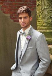 Ivory Linen Suit Canada - New Brilliant Two Buttons Closure Collar Slim Fit Suits Bridegroom Tuxedos Best Man Suit Wedding Suit(jacket+pants+grey vest )