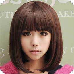 Cute Bob Wigs Canada - Wholesale-Blonde Short Wig Women's Cute Fringe Straight Bob Cosplay Wig Heat Resistant Full Hair Blonde Short Wig