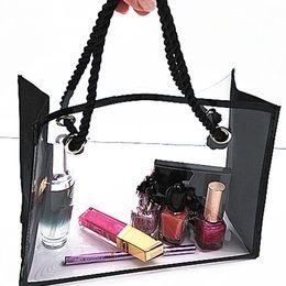 Washed silk online shopping - Washing bag travel swimming cosmetic bag transparent splicing waterproof storage bag